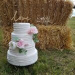 Four Tier Rustic Wedding Cake with Sugar Flowers and LOVE topper by White Rose Cake Design Bespoke Wedding Cake Maker in Holmfirth Huddersfield West Yorkshire