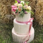Three Tier Rustic Wedding Cake with Fresh Garden Flowers Posy Topper by White Rose Cake Design Bespoke Wedding Cake Maker in Holmfirth Huddersfield West Yorkshire