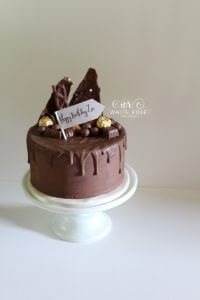 Chocolate Drippy Birthday Cake by White Rose Cake Design Bespoke Birthday Cake Maker in Holmfirth, Huddersfield West Yorkshire