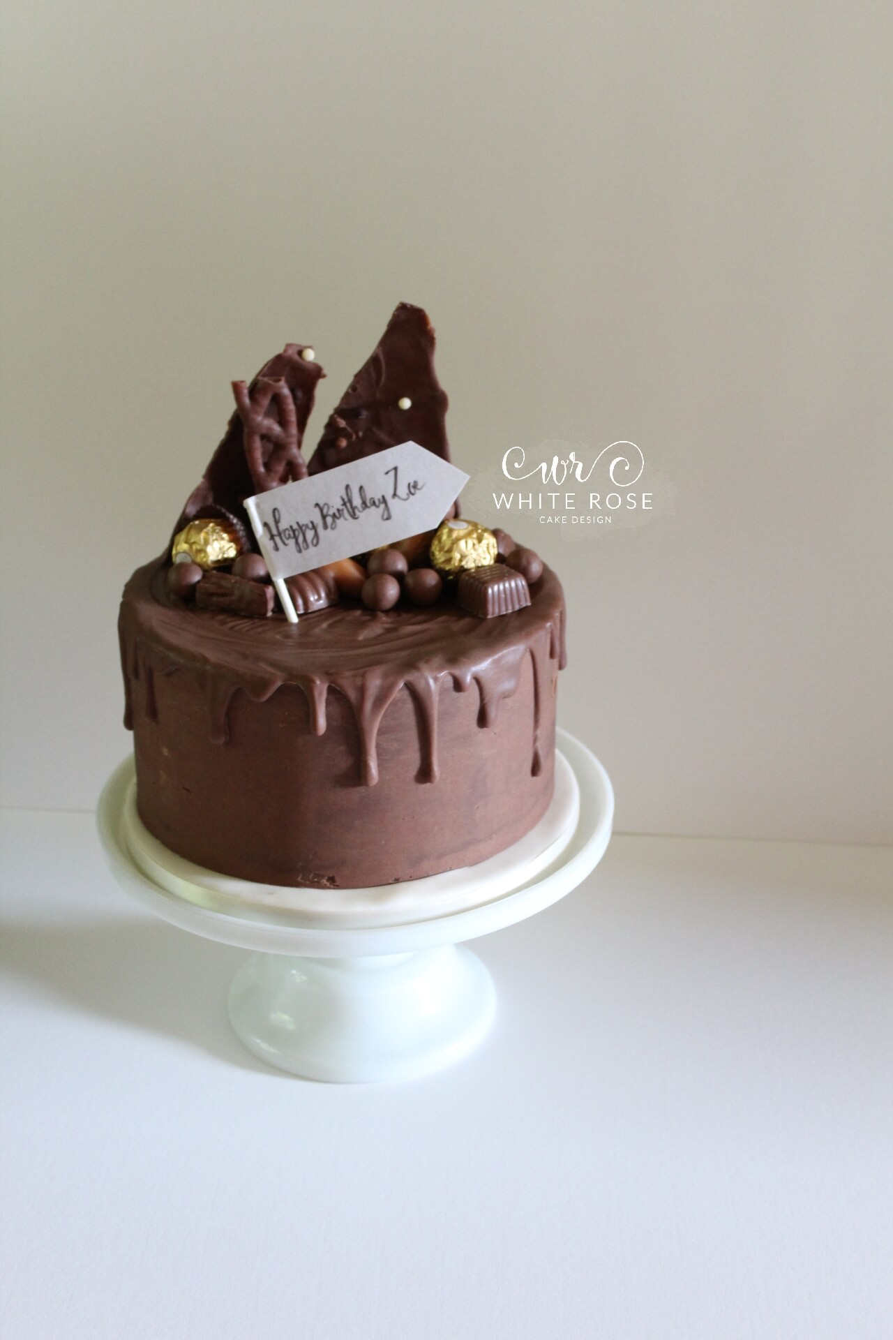 Chocolate Drippy Birthday Cake By White Rose Design Bespoke Maker In Holmfirth