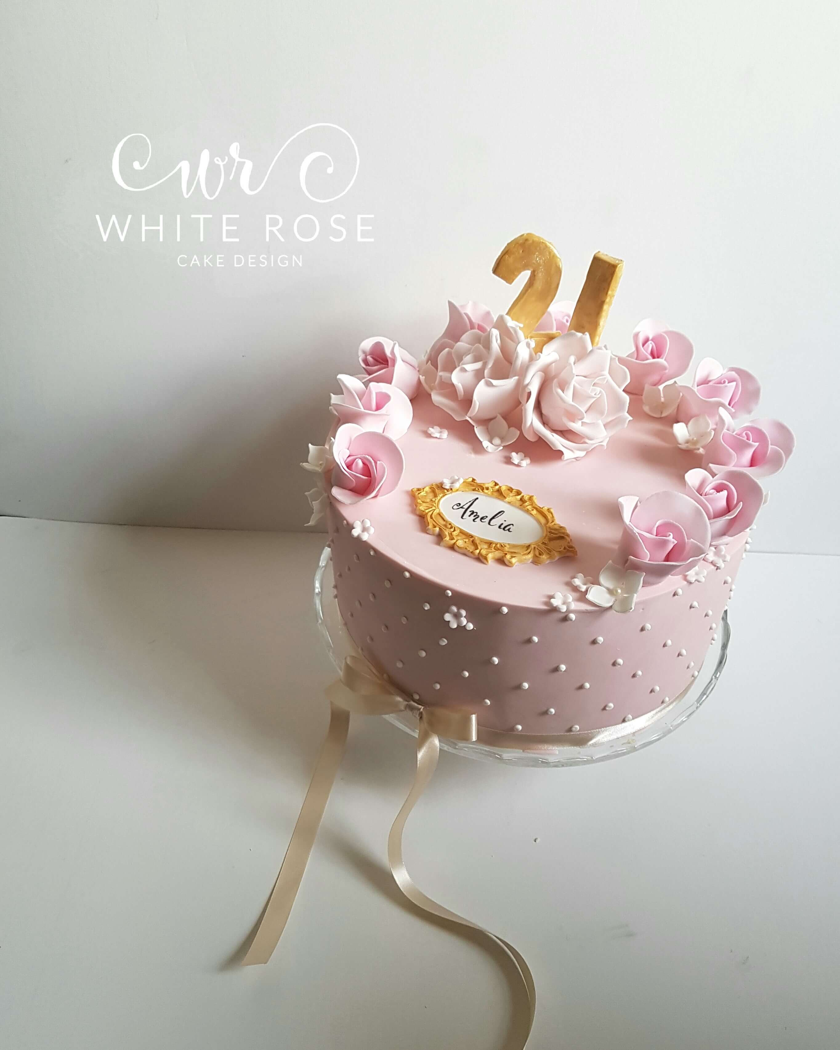 21st Birthday Cake with Pink Roses by White Rose Cake Design in West Yorkshire Luxury Birthday Cakes