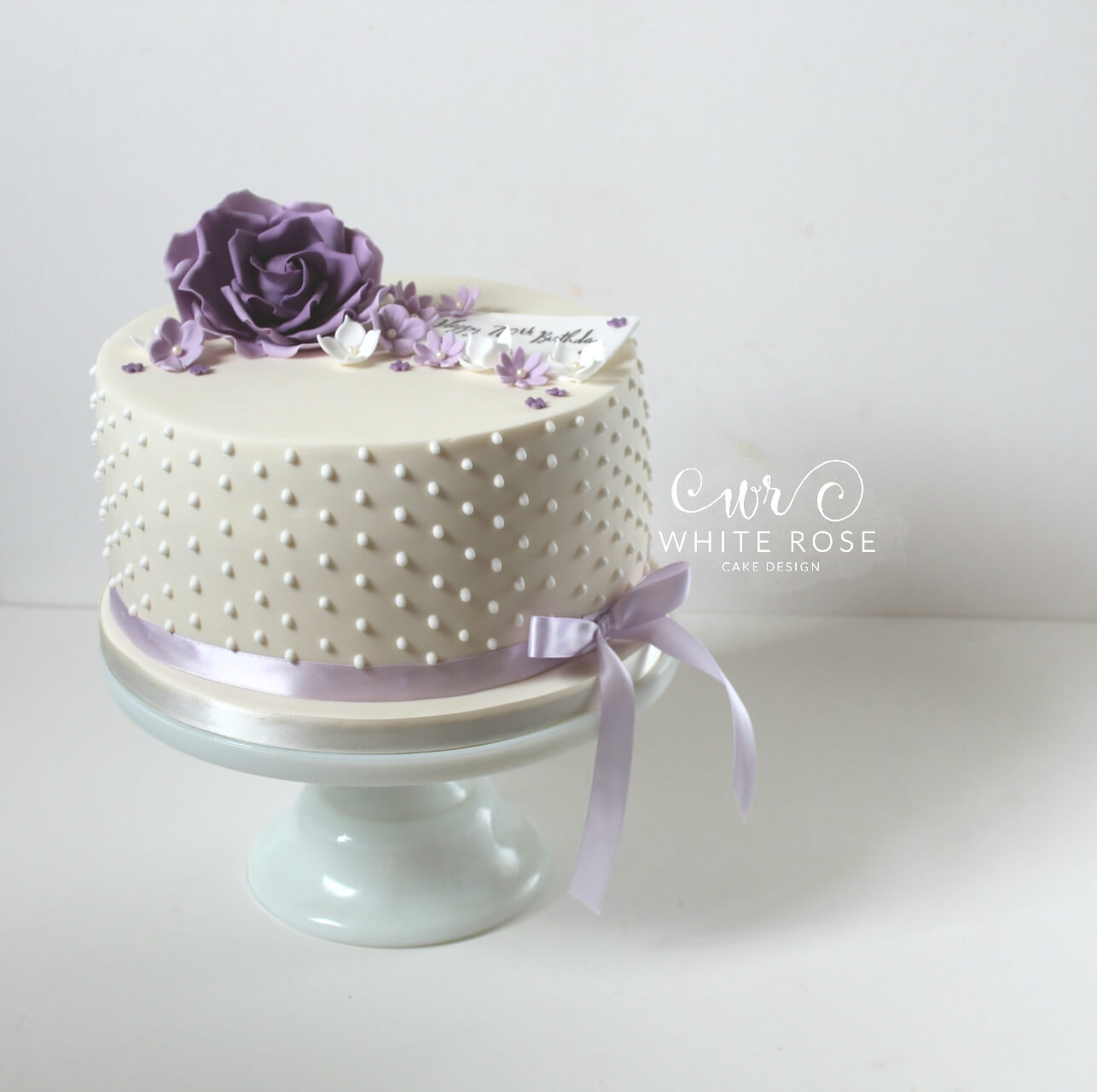 Purple Lilac 70th Birthday Cake by White Rose Cake Design Bespoke Birthday and Celebration Cakes in West Yorkshire Huddersfield Holmfirth