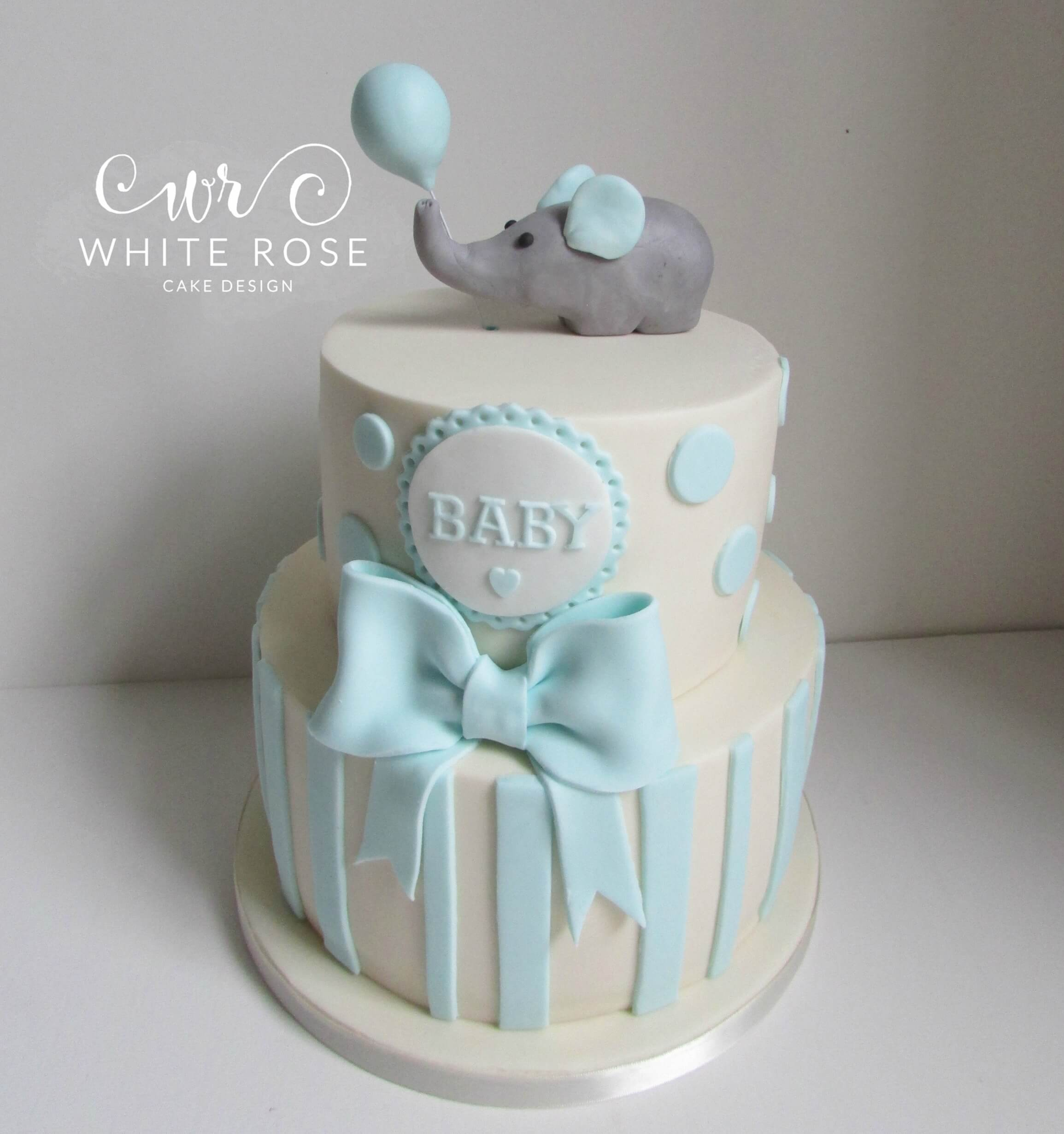 Two Tier Baby Shower Elephant Spots and Stripes Cake2 Huddersfield Maker