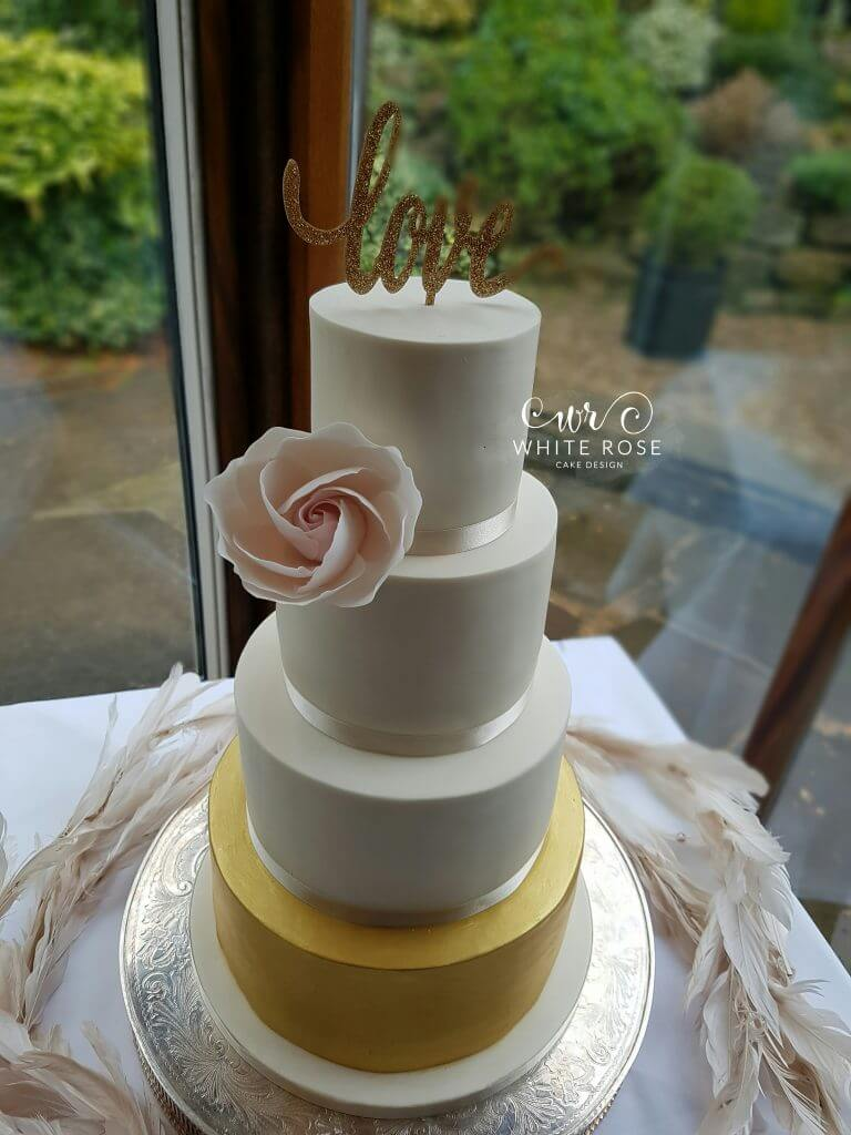 Ivory Blush and Gold Wedding Cake by White Rose Cake Design, Cake Maker in West Yorkshire