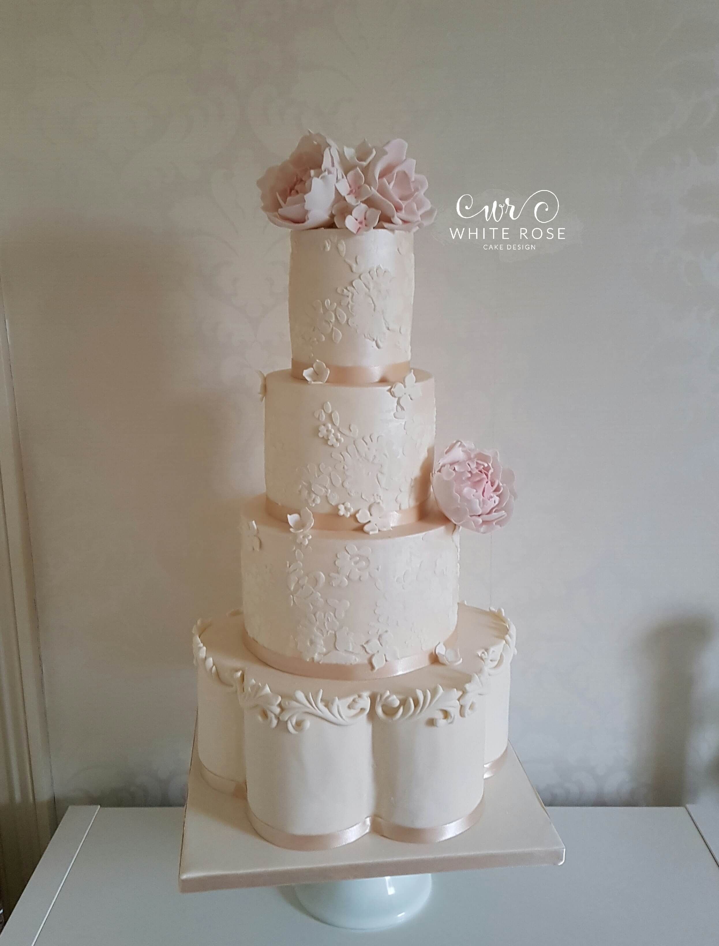 Lace and Blush Peonies Wedding Cake by White Rose Cake Design, Wedding Cakes in West Yorkshire