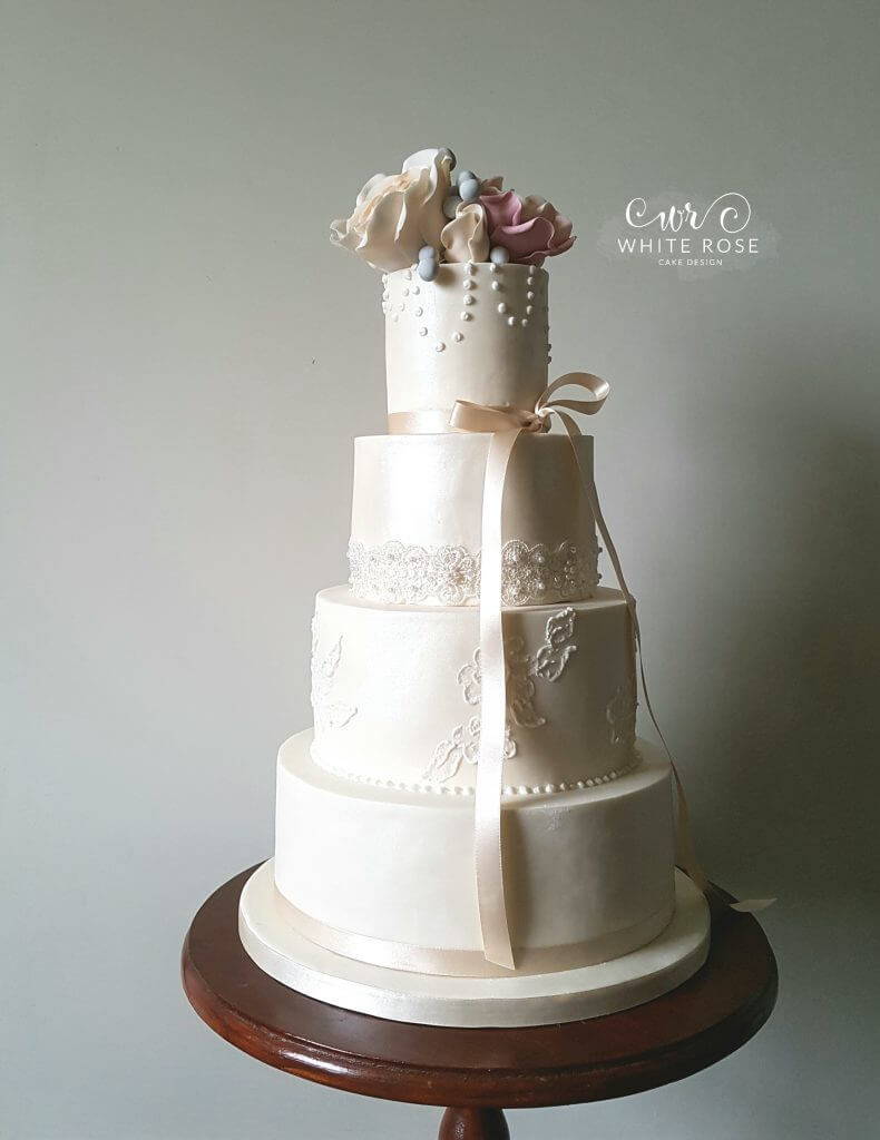 Pearls and Roses Wedding Cake - A New Design for White Rose Cake ...