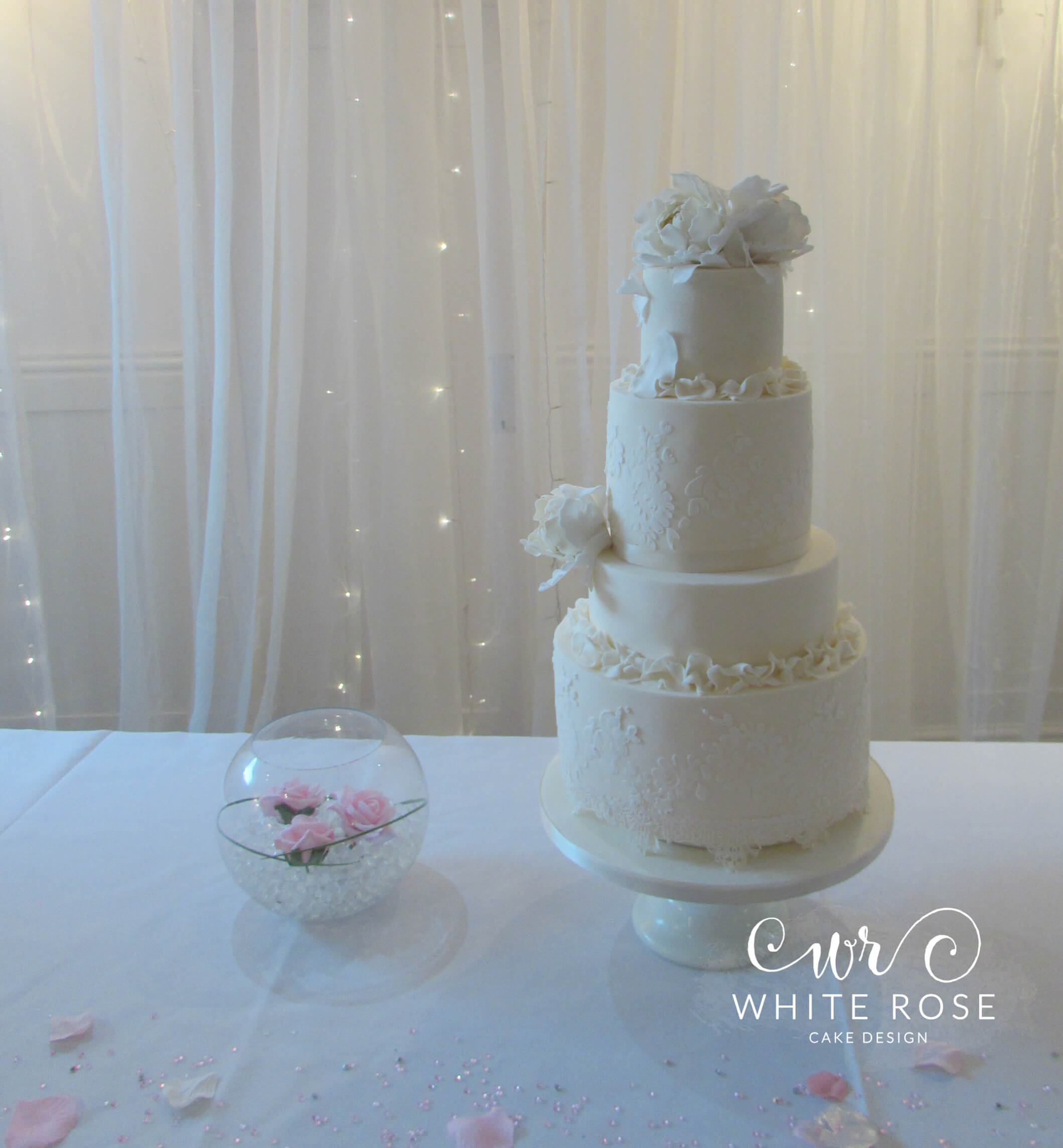 Ivory Peonies Wedding Cake by White Rose Cake Design, Wedding Cakes in West Yorkshire