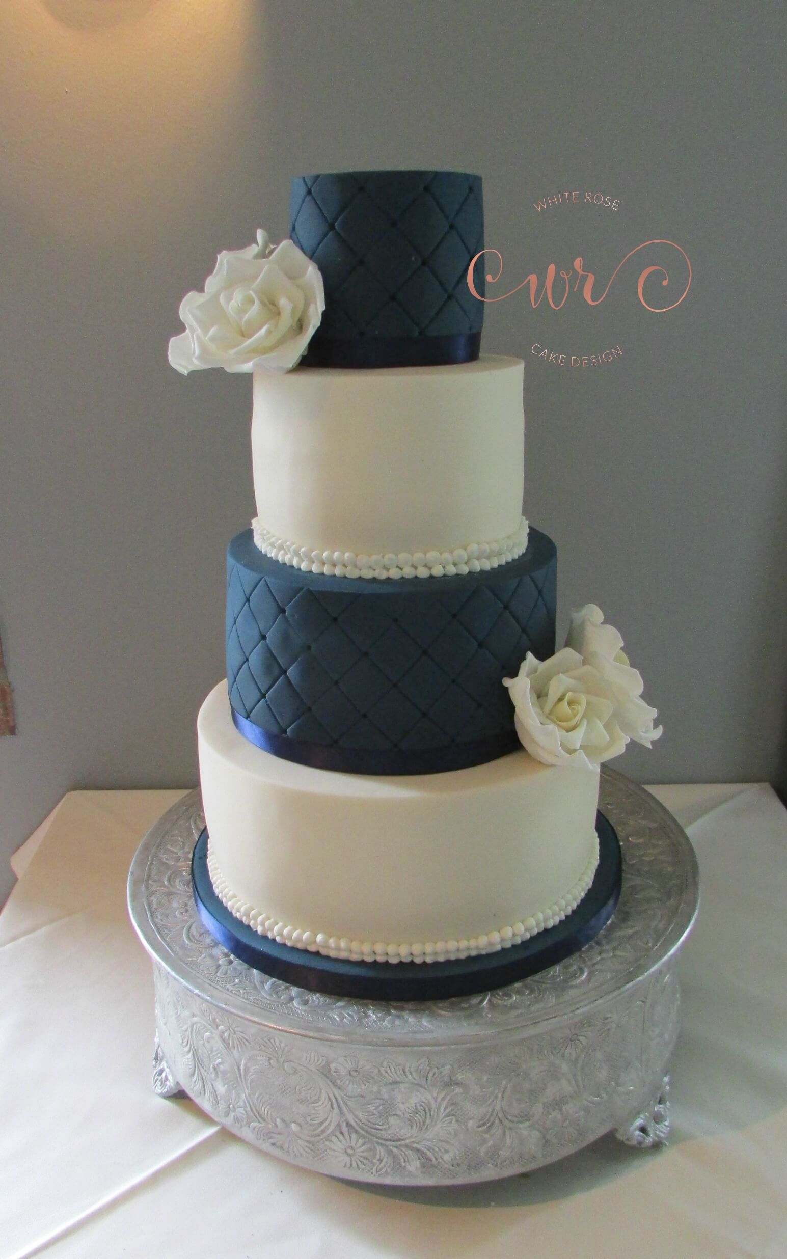 Ivory and Navy Wedding Cakeby White Rose Cake Design, Wedding Cakes in West Yorkshire