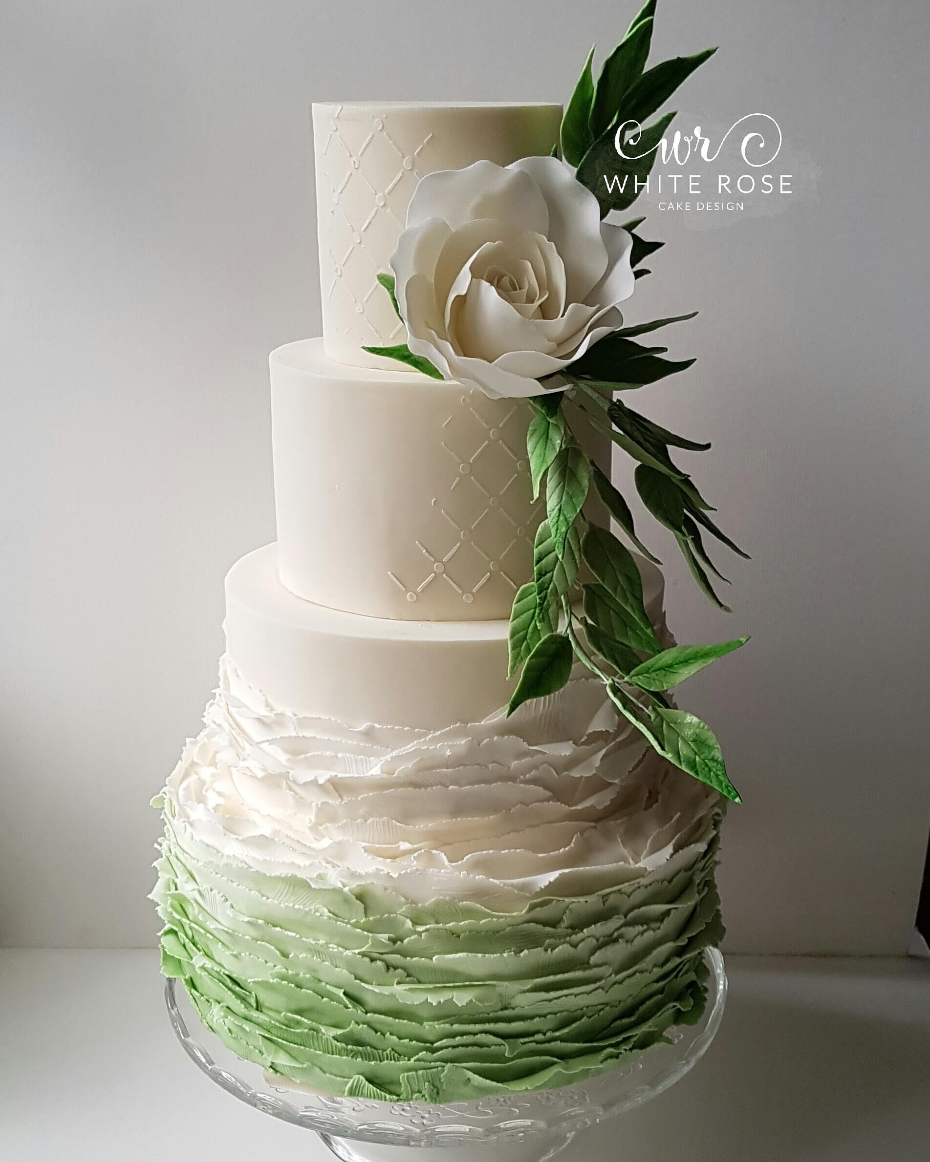Pantone Inspired Greenery Wedding Cake by White Rose Cake Design, Wedding Cakes in West Yorkshire