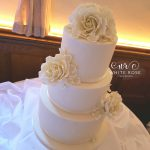 Ivory Roses and Hydrangea Wedding Cake by White Rose Cake Design, Wedding Cakes in West Yorkshire