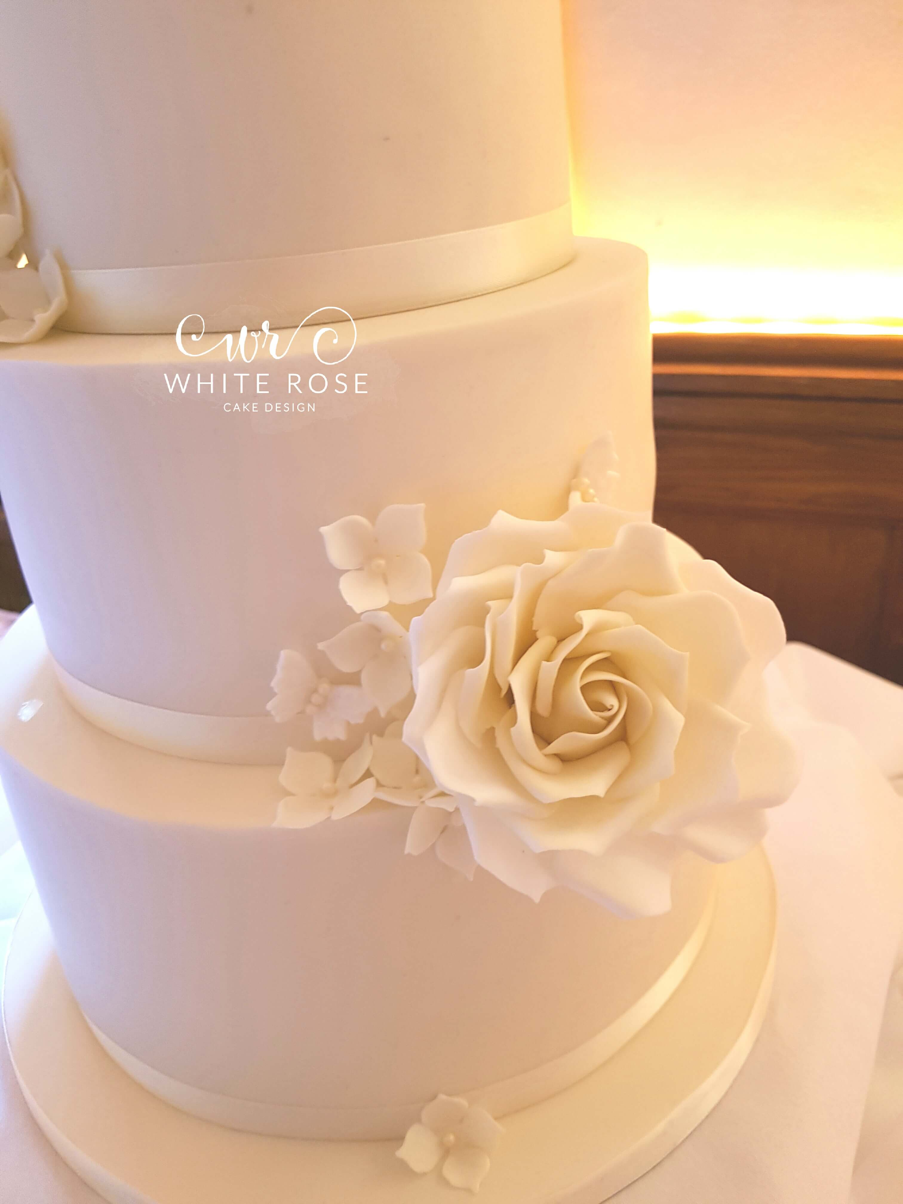 Three Tier Ivory Roses and Hydrangeas Wedding Cake by White Rose ...