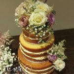 Naked Wedding Cake with Fresh Flowers by White Rose Cake Design, Wedding Cakes in West Yorkshire