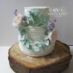 Floral Wreath Rustic Finish Wedding Cake by White Rose Cake Design, Wedding Cakes in West Yorkshire