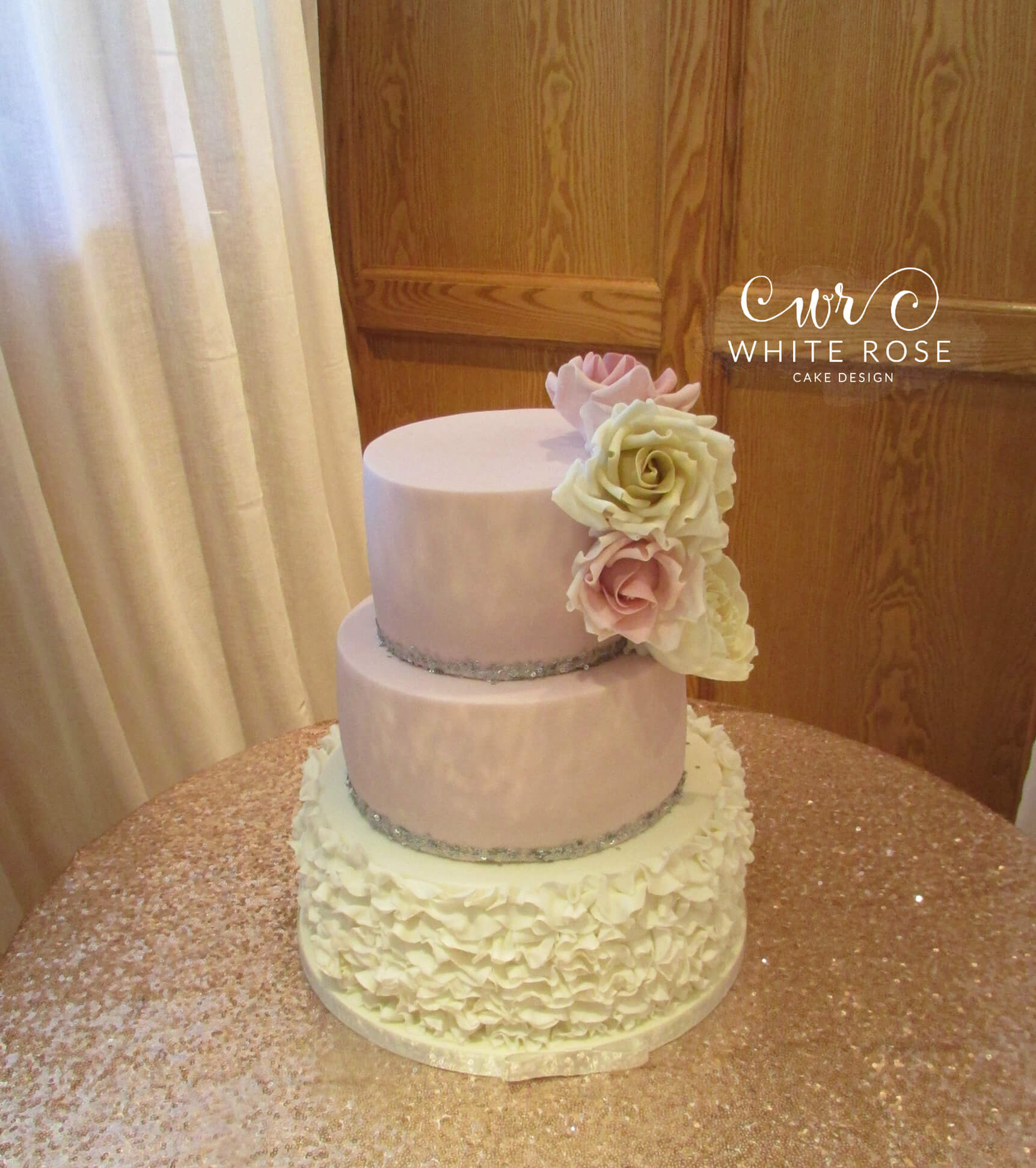 Pink and Ivory Ruffles Wedding Cake by White Rose Cake Design, Wedding Cakes in West Yorkshire