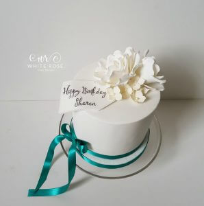 White-and-Ivory-Roses-Birthday-Cake-with-Teal-Ribbon-by-White-Rose-Cake-Design-Wedding-Cake-Maker-in-Huddersfield-West-Yorkshire