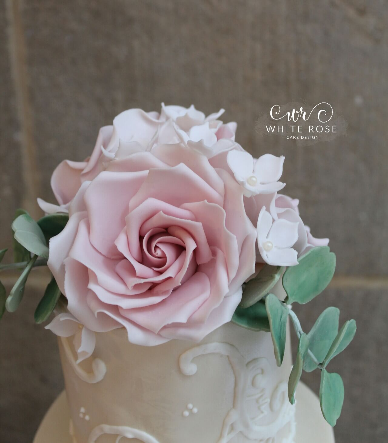 Dusky Pink Roses And Piped Lace Elegant Vintage 4 Tier Wedding Cake