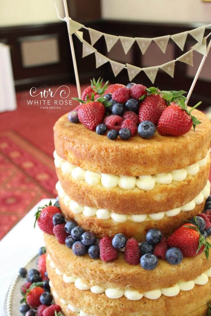 Rustic Naked Wedding Cake With Berries For Laura And Chris At - Wedding Cakes In Wakefield