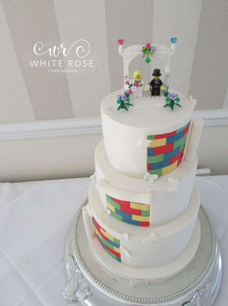 Lego Themed Wedding Cake by White Rose Cake Design Wedding Cake Maker in Holmfirth West Yorkshire Wedding Cakes