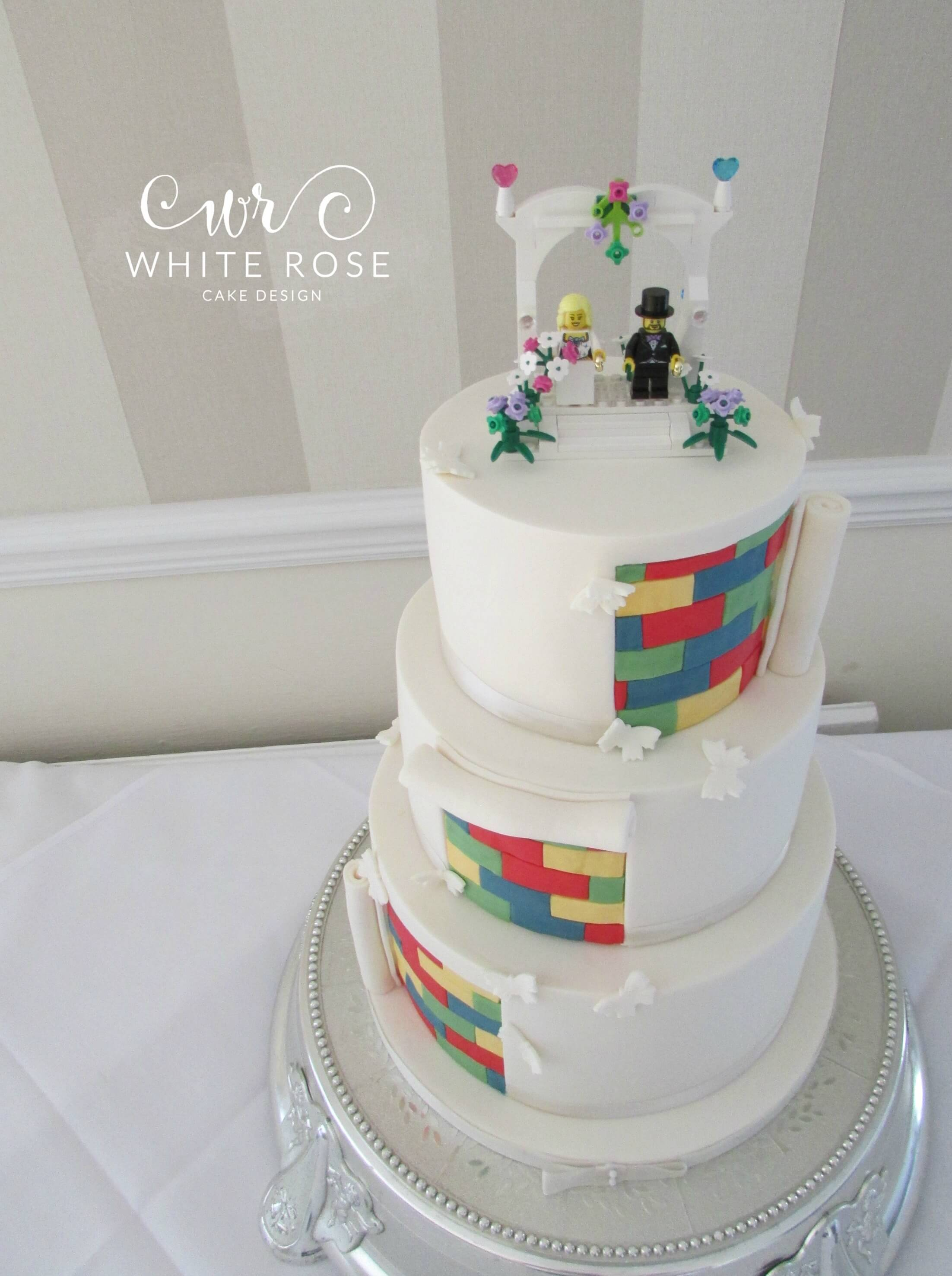 Three Tier Lego Themed Wedding Cake Huddersfield - White Rose Cake ...