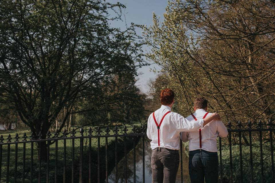 Yorkshire Sculpture Park Same Sex Wedding Braces and Bow Ties with Cake by White Rose Cake Design and Photos by Lianne Gray Photography (1)