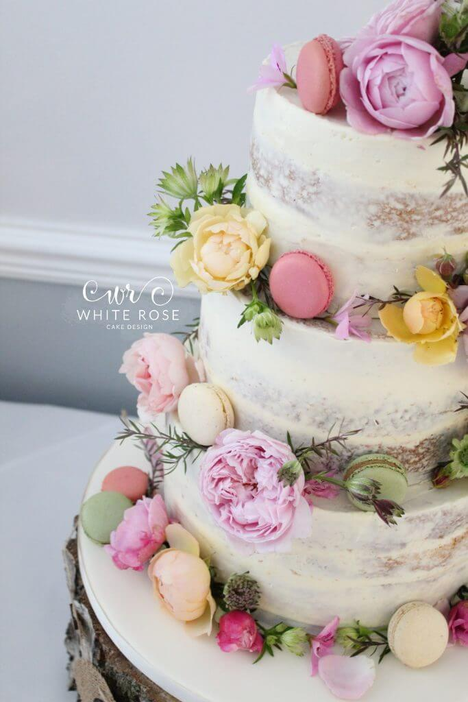 Floral Semi-Naked Wedding Cake with Fresh Flowers in Bright Colours at Durker Roods Hotel by White Rose Cake Design Wedding Cake Designer in Huddersfield Holmfirth West Yorkshire (6)
