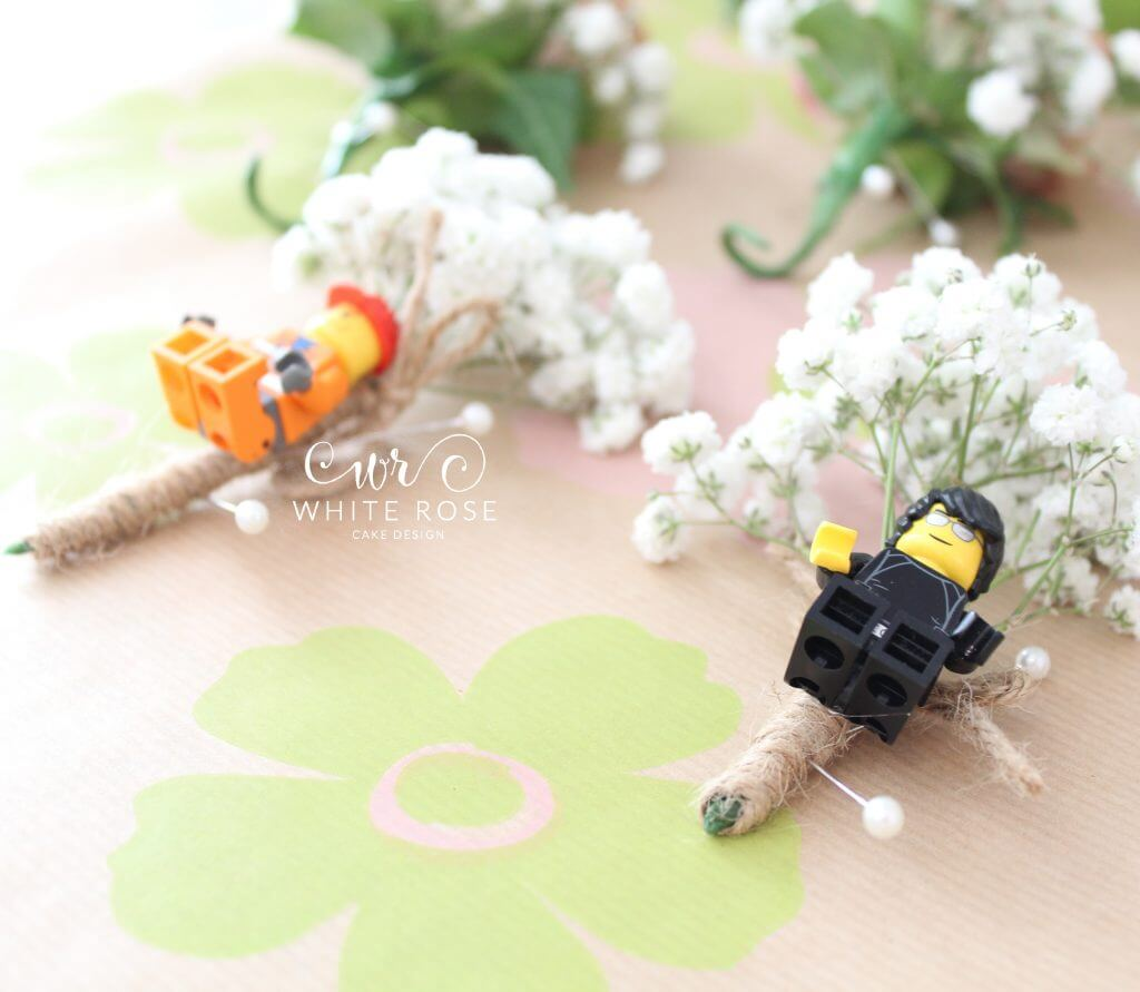 Lego Buttonholes Simple Rustic Gypsophelia Babys Breath by Woo B Woo at Durker Roods Hotel - White Rose Cake Design Bespoke Wedding Cake Maker in Holmfirth, Huddersfield West Yorkshire