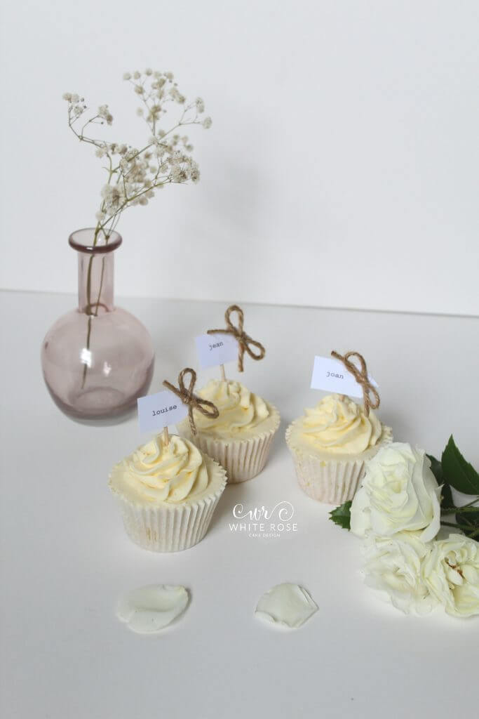 Rustic Cupcake Wedding Favours Guest Name Place Markers by White Rose Cake Design Bespoke Wedding Cakes in Holmfirth Huddersfield West Yorkshire (1)