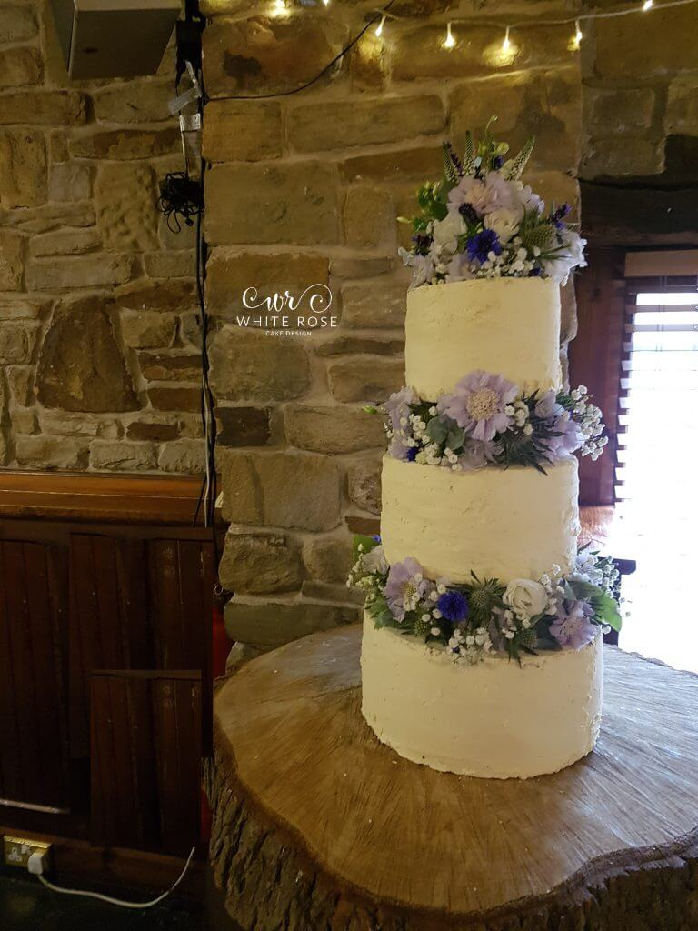 Rustic Floral Wedding Cake Three Tiers by White Rose Cake Design Bespoke Wedding Cakes in Holmfirth Huddersfield West Yorkshire (2)