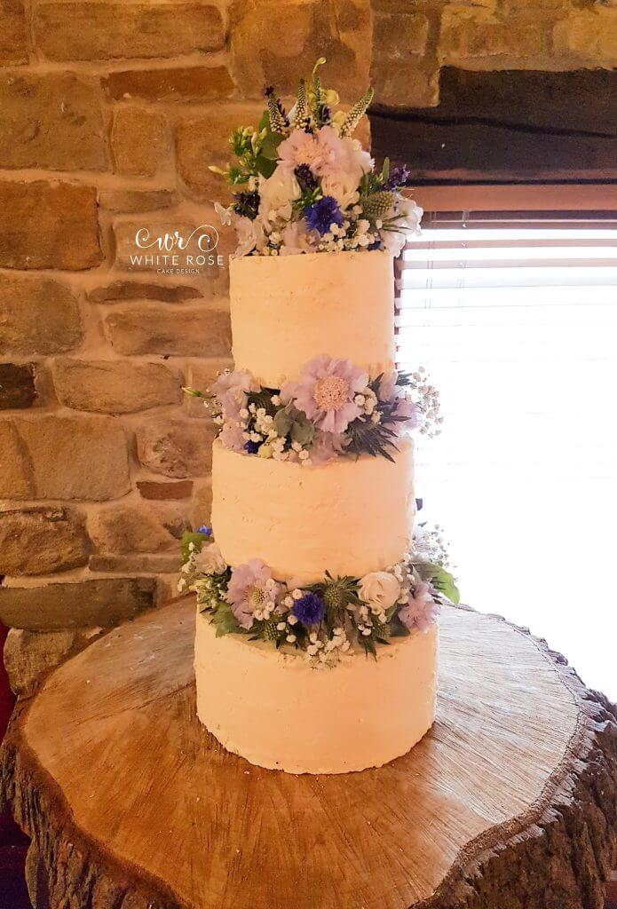 Rustic Floral Wedding Cake Three Tiers by White Rose Cake Design Bespoke Wedding Cakes in Holmfirth Huddersfield West Yorkshire (5)