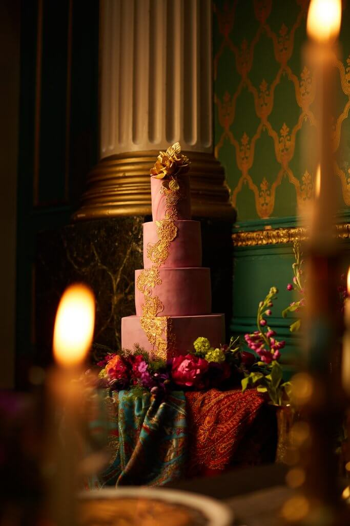 Benjamin Pollard Photography Jewel Tones Asian Fusion Cutlers Hall White Rose Cake Design (4)