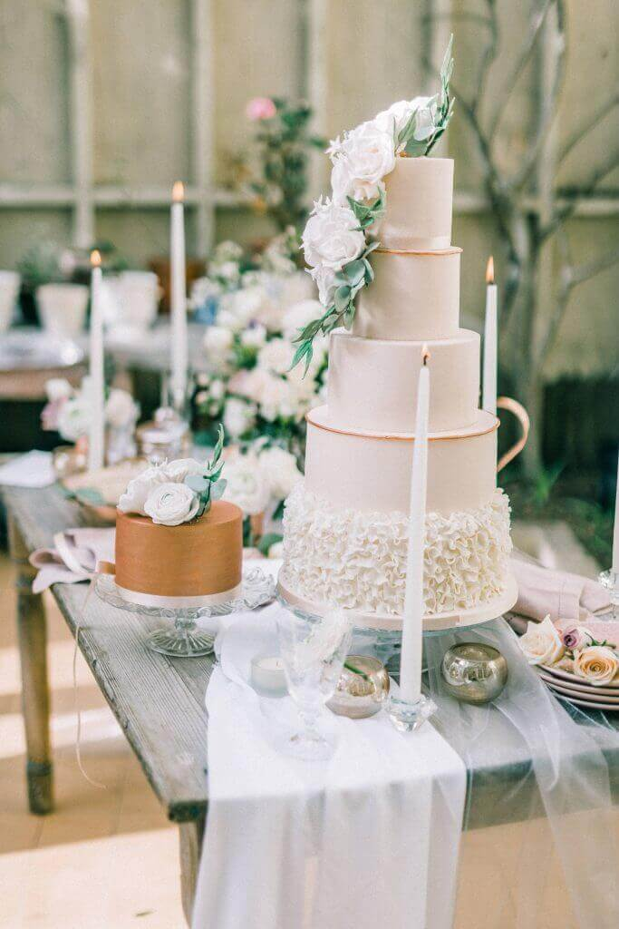 Blush and Copper Floral Wedding Cake by White Rose Cake Design Bespoke Wedding Cakes in West Yorkshire