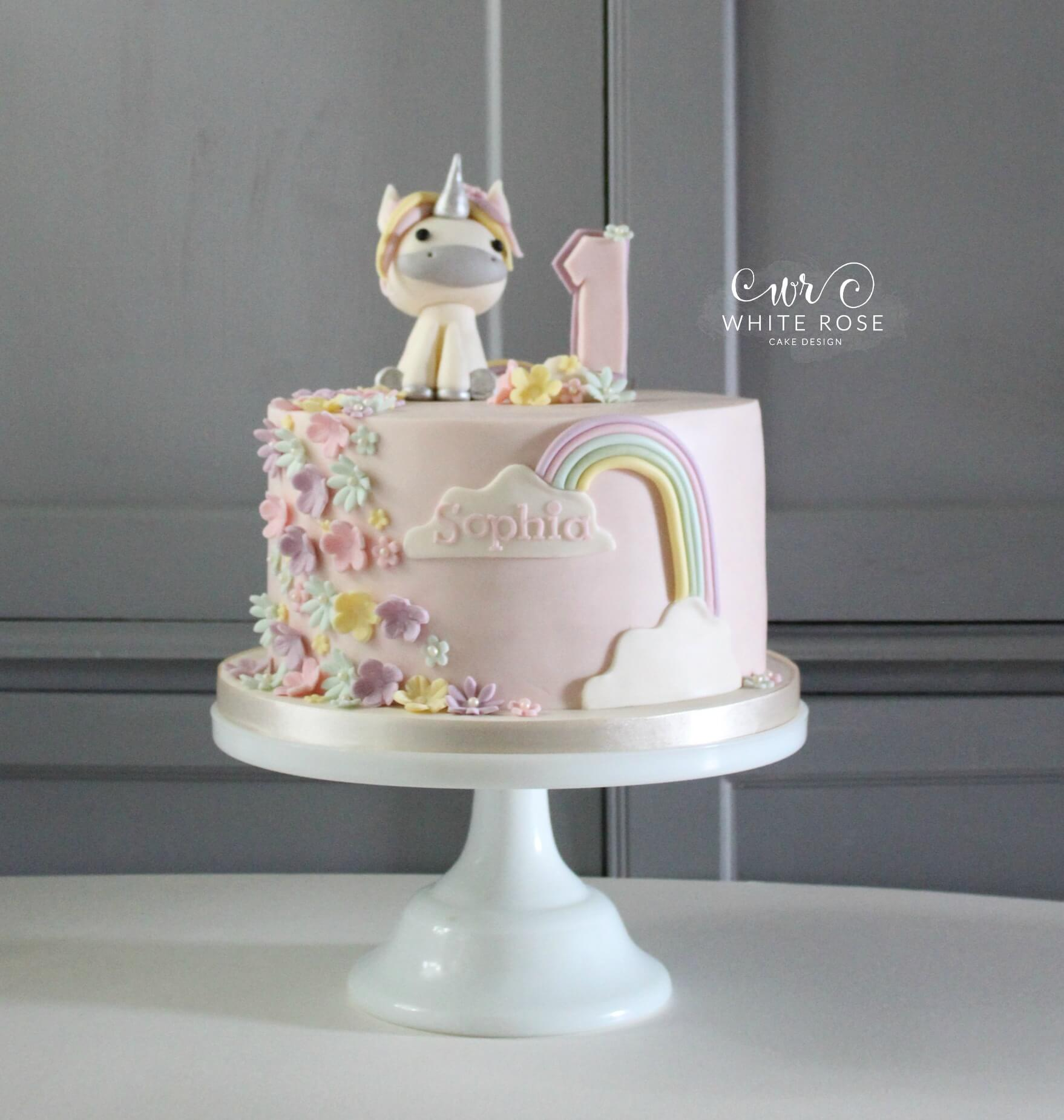 Unicorn 1st Birthday Cake White Rose Design Maker In Holmfirth West Yorkshire