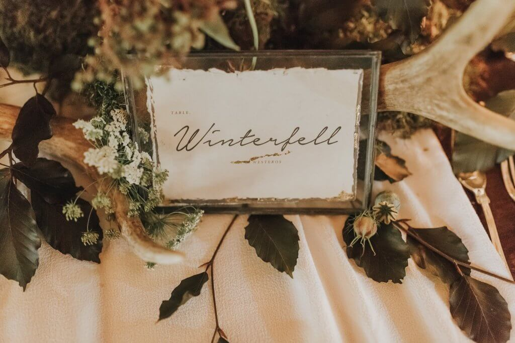 Table Name Setting Game of Thrones Inspired Wedding