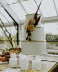 Autumnal Blue and Mustard Wedding Cake by White Rose Cake Design in West Yorkshire Photo by Nicola Dixon Photography