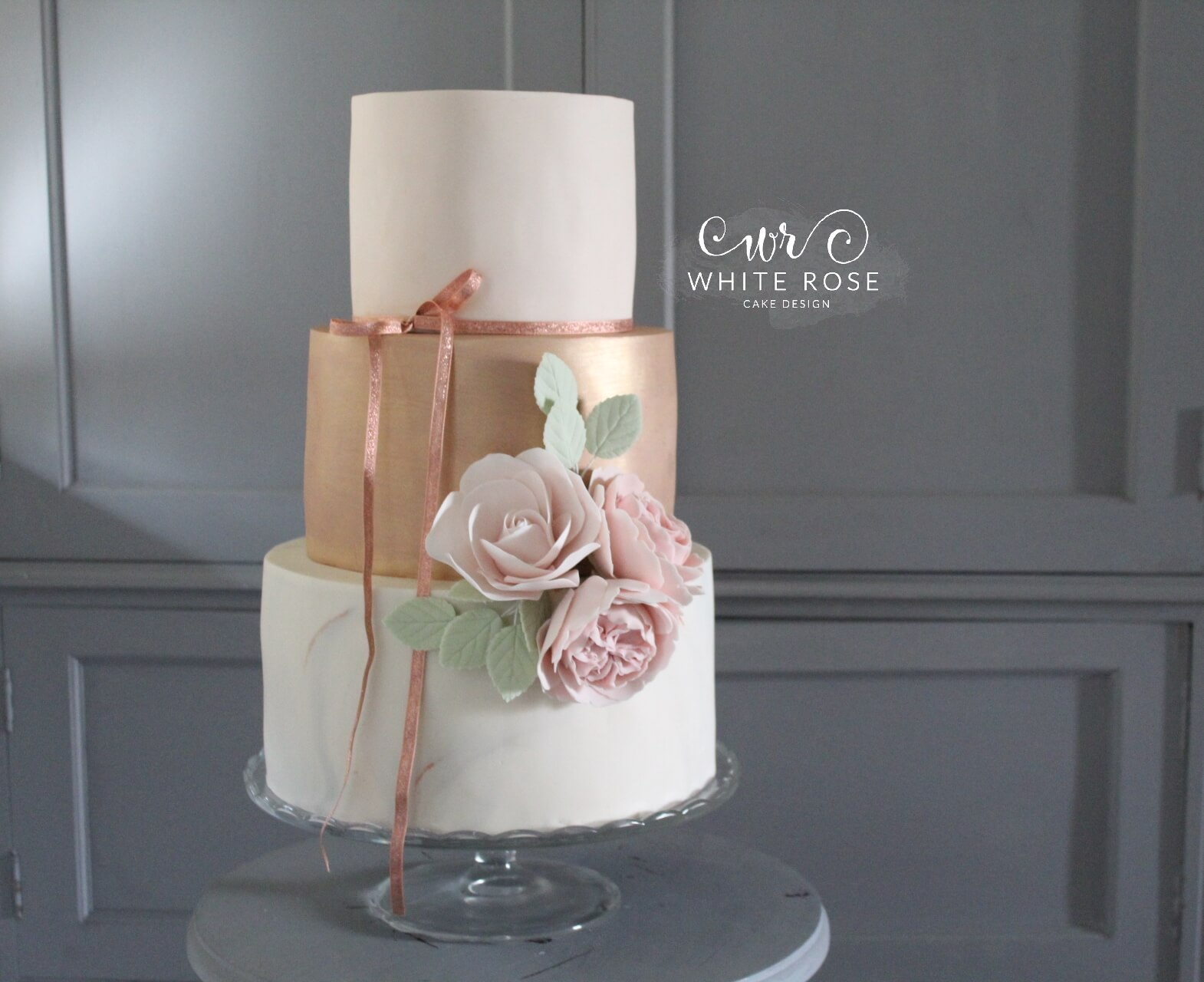 Blush, Rose Gold and Marble Three Tier Wedding Cake by White Rose Cake Design in West Yorkshire Bespoke Wedding Cake Maker