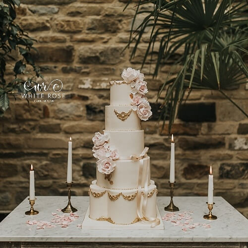 Blush and Gold Wedding Cake by White Rose Cake Design Luxury Wedding Cakes in West Yorkshire