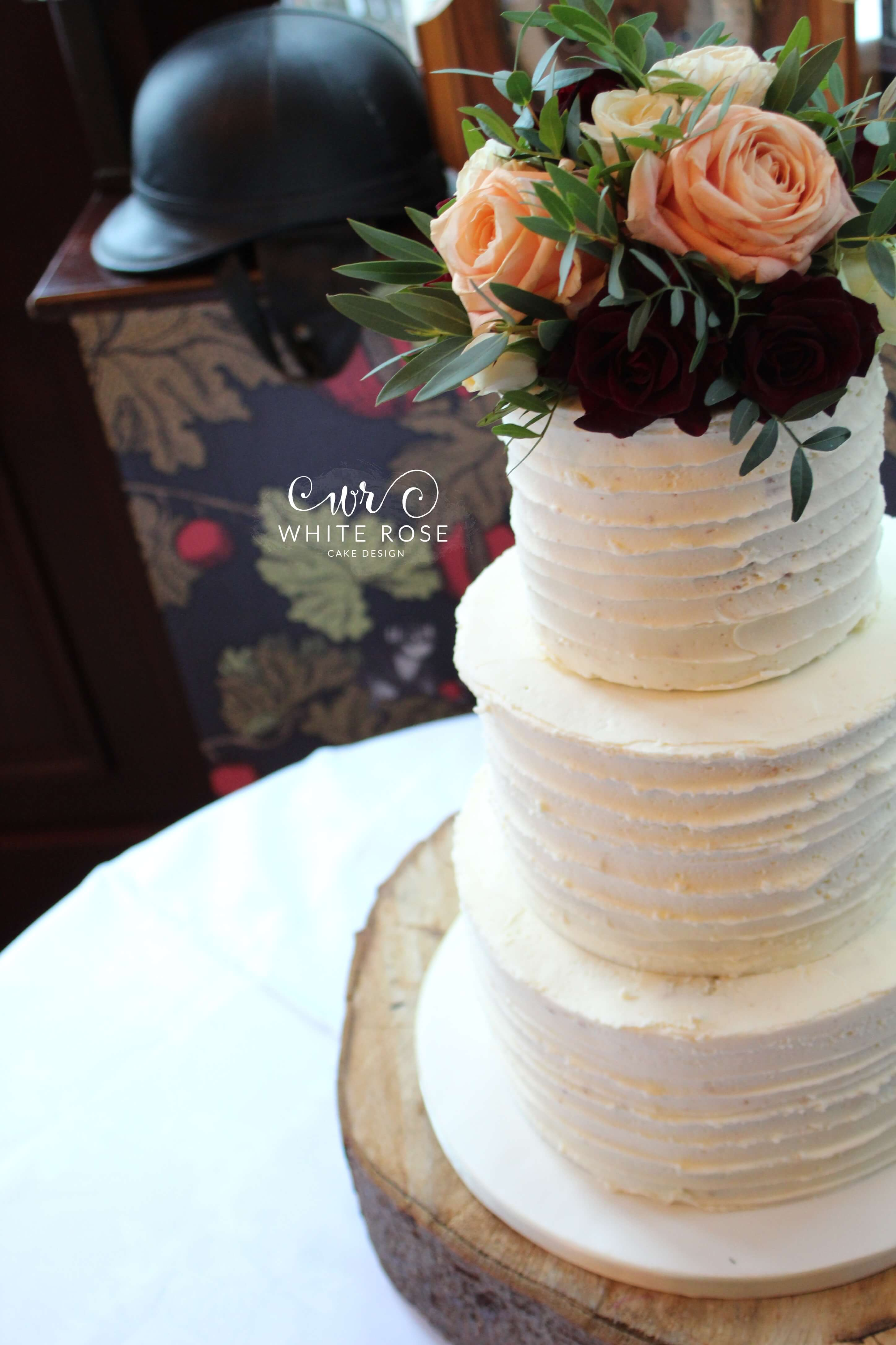 Rustic Winter Wedding Cake With Buttercream Finish By White Rose Design Luxury Maker In Holmfirth West Yorkshire 1