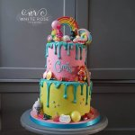 Trolls Bright Two Tier Birthday Cake by White Rose Cake Design Cake Maker in West Yorkshire