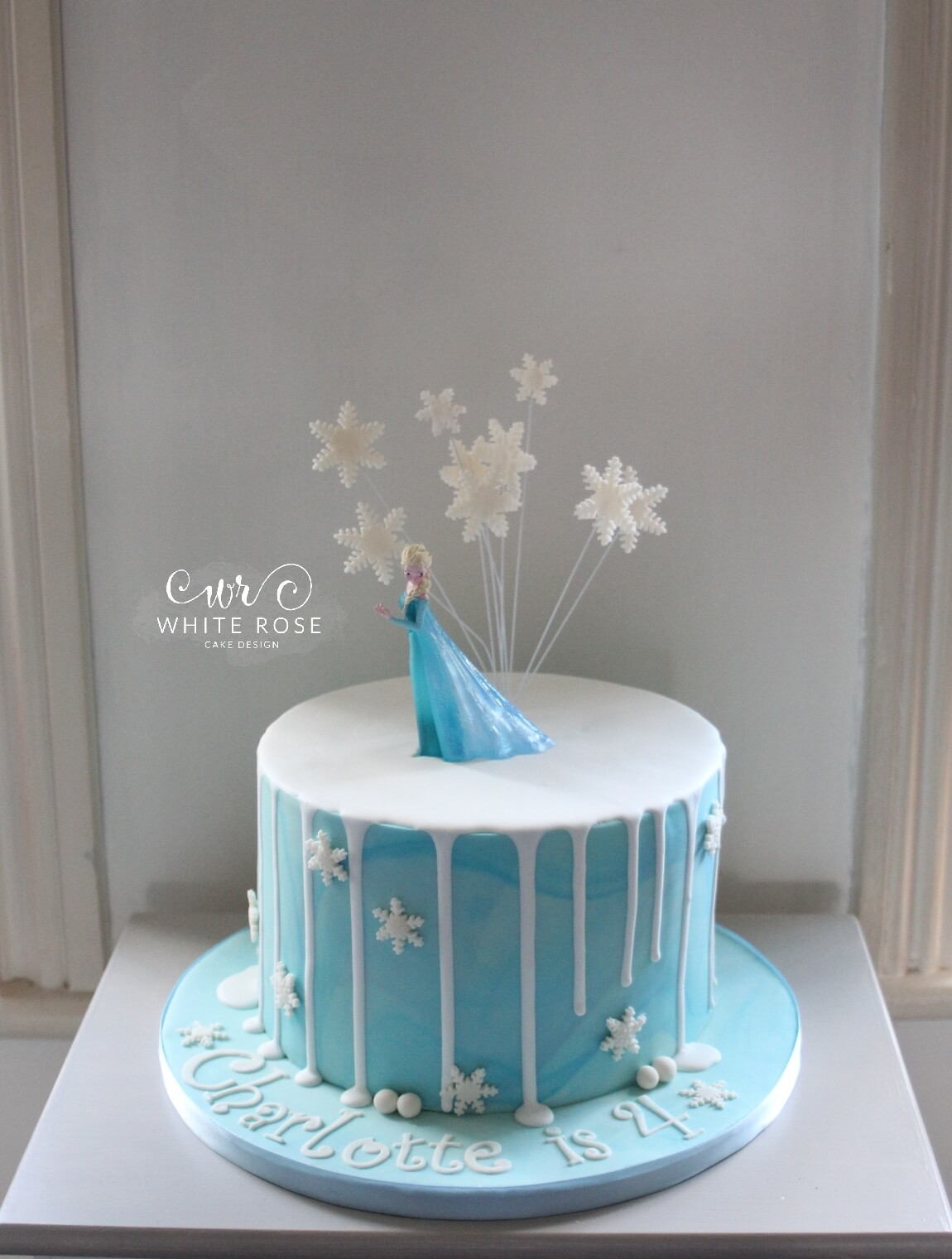 Elsa from Frozen Themed 4th Birthday Cake by White Rose Cake Design in West Yorkshire