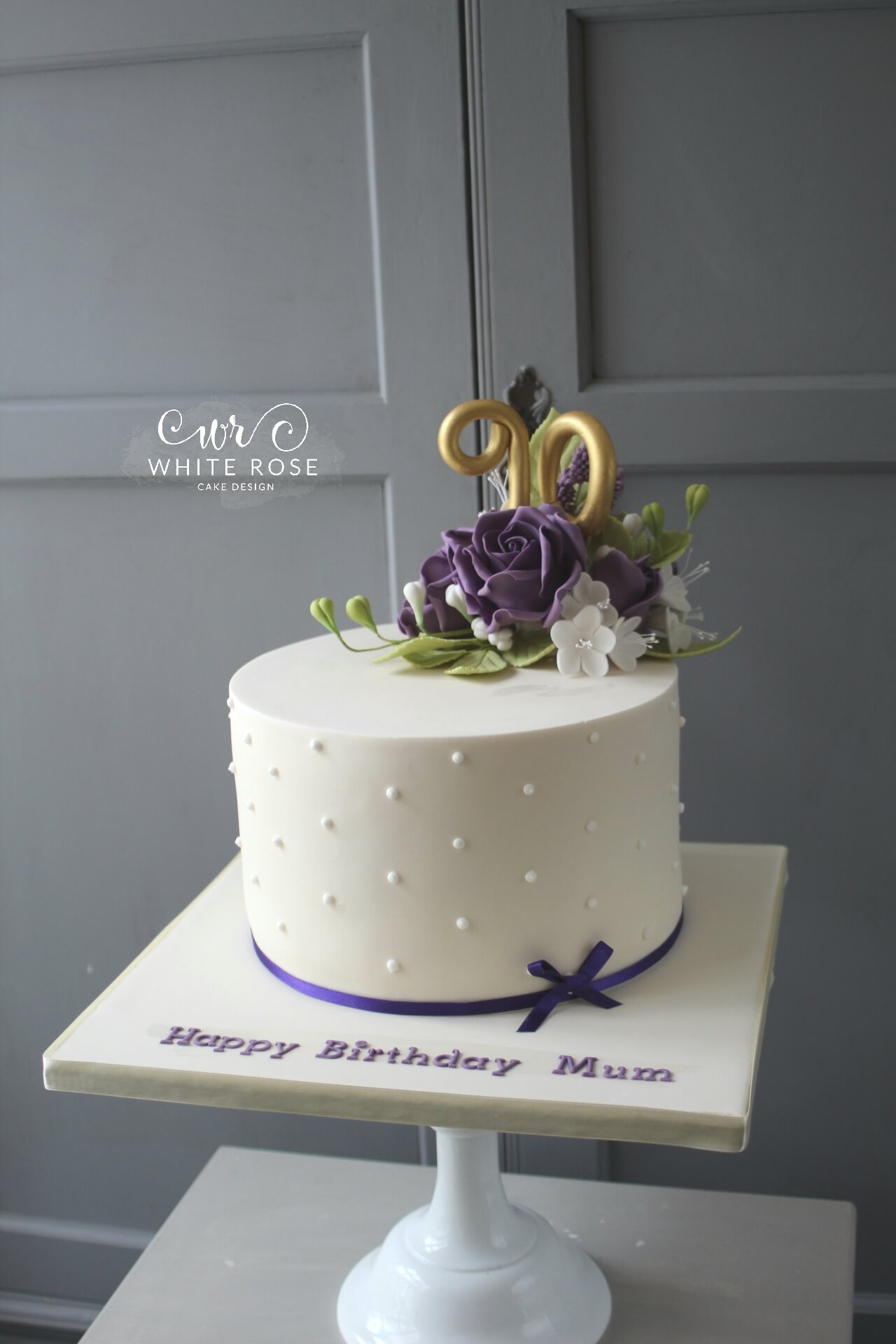 90th BIrthday Cake With Purple Flowers By White Rose Design West Yorkshire Maker