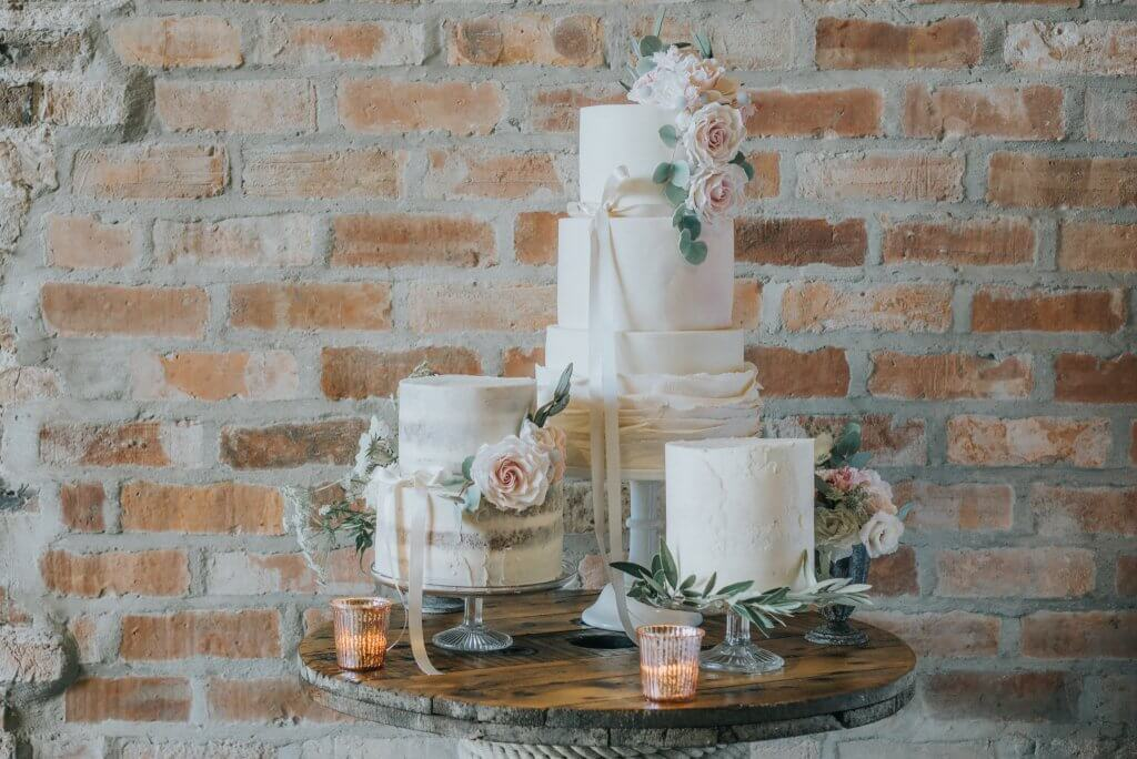 Country Luxe Wedding - White Rose Cake Design West Yorkshire Cake Maker - Stewart Barker Photography Cake Display Cable Drum Reel
