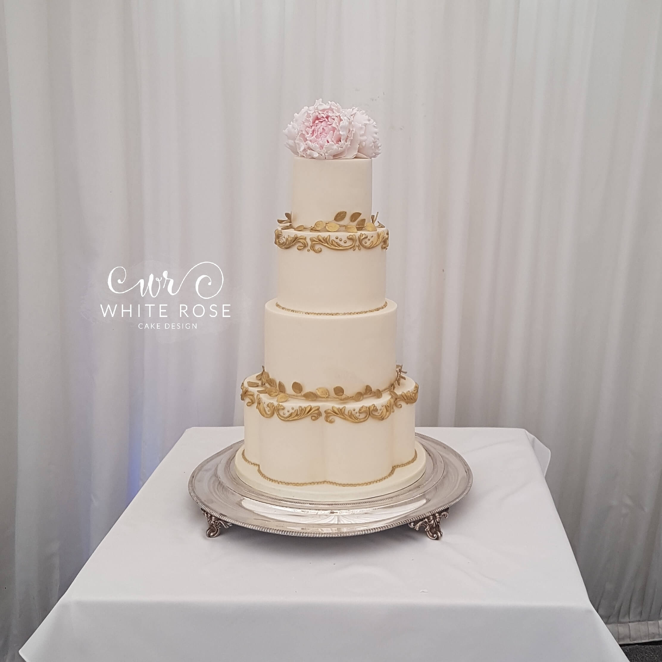 Baroque Style Wedding Cake with Pink Peonies by White Rose Cake Design West Yorkshire at Woodlands Leeds