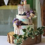Blue and Purple Buttercream Chocolate Drip Wedding Cake by White Rose Cake Design with Totoro Toppers