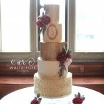 Five Tier Luxury Red and Gold Sequins Wedding Cake at Carlton Towers by White Rose Cake Design West Yorkshire Cake Maker