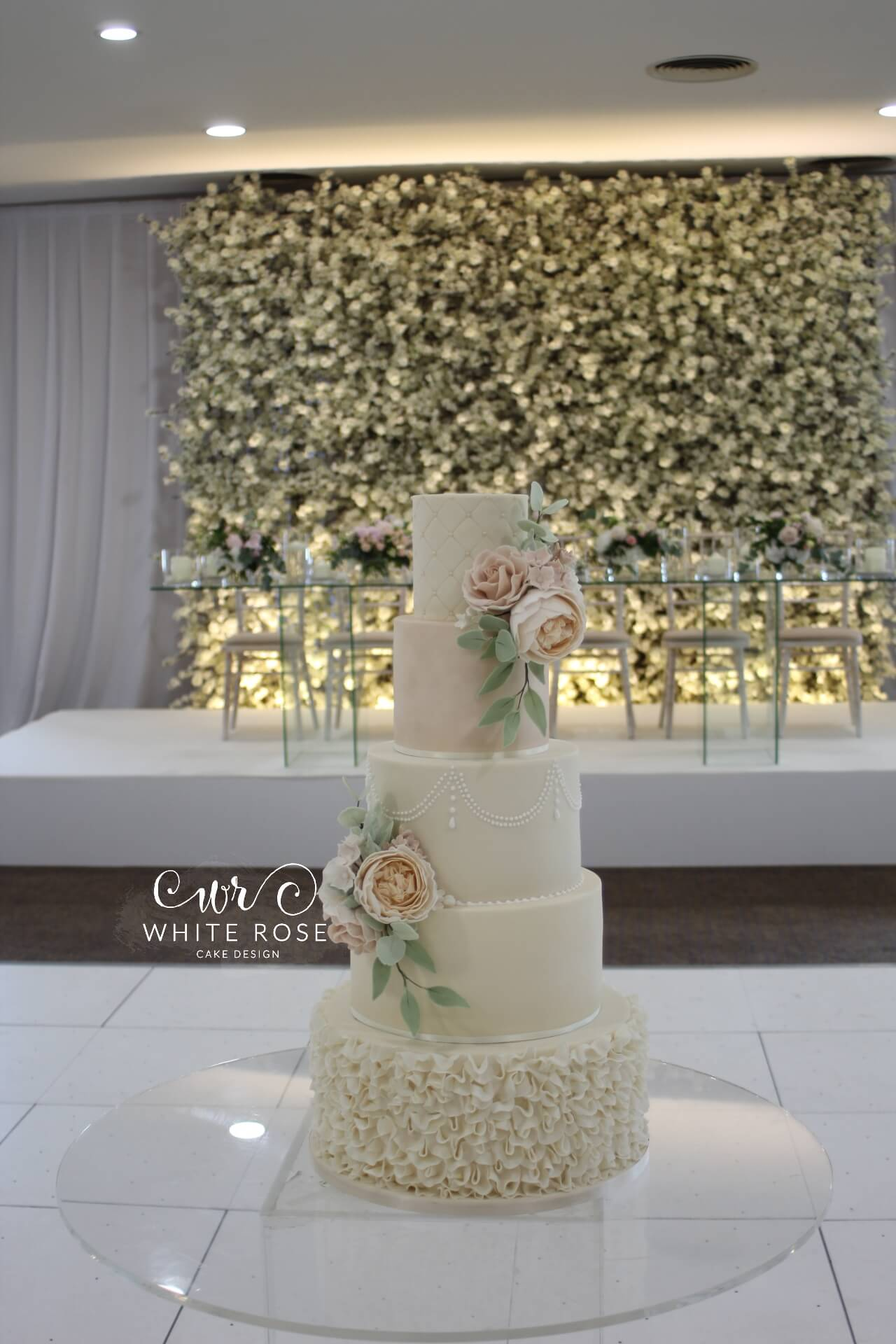 Five Tier Peach and Blush Wedding Cake with Sugar Flowers by White Rose Cake Design West Yorkshire Cake Maker