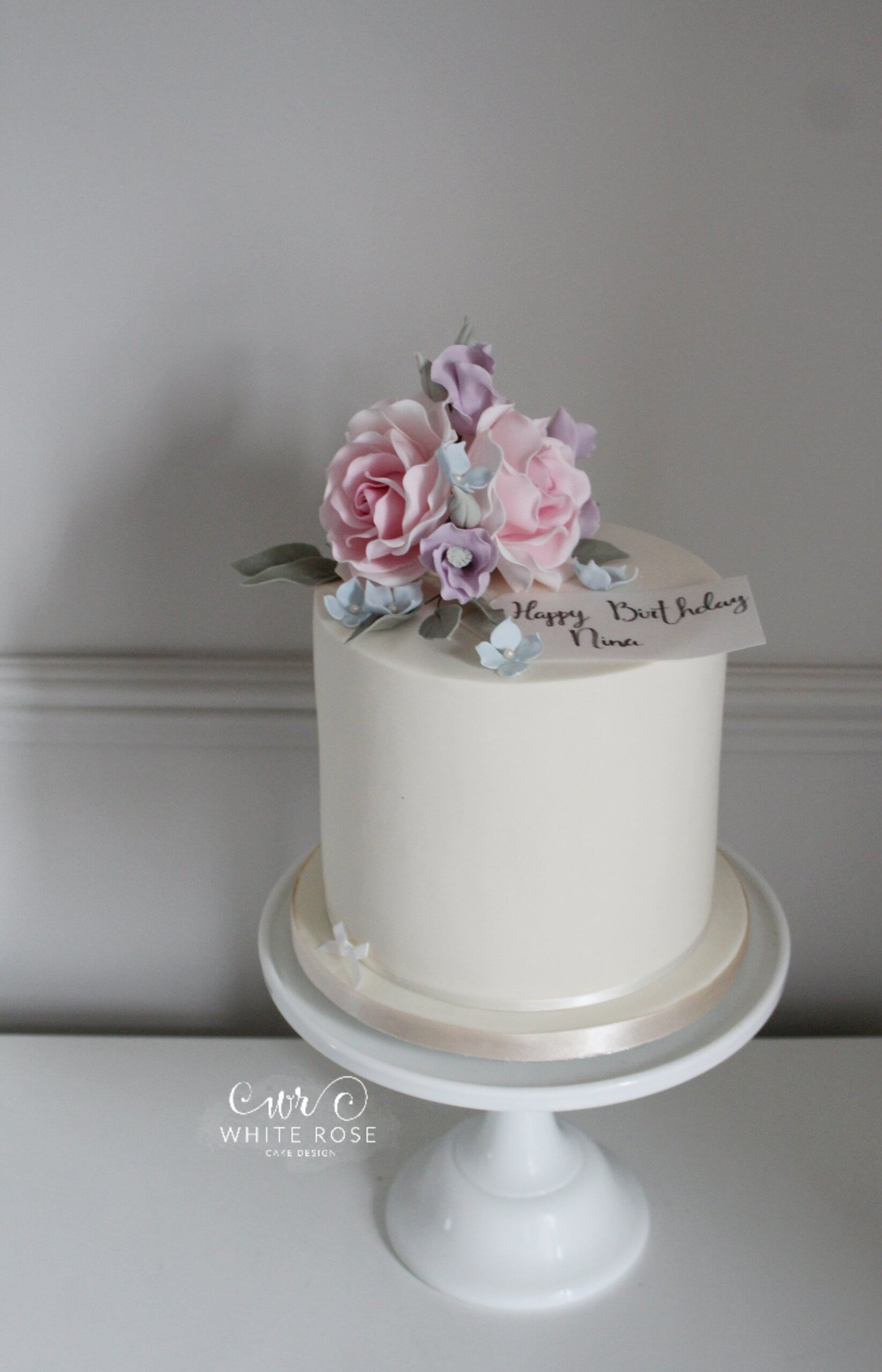 Floral Birthday Cake for 80th 60th 70th 50th Birthday by White Rose Cake Design Cake Maker in Holmfirth