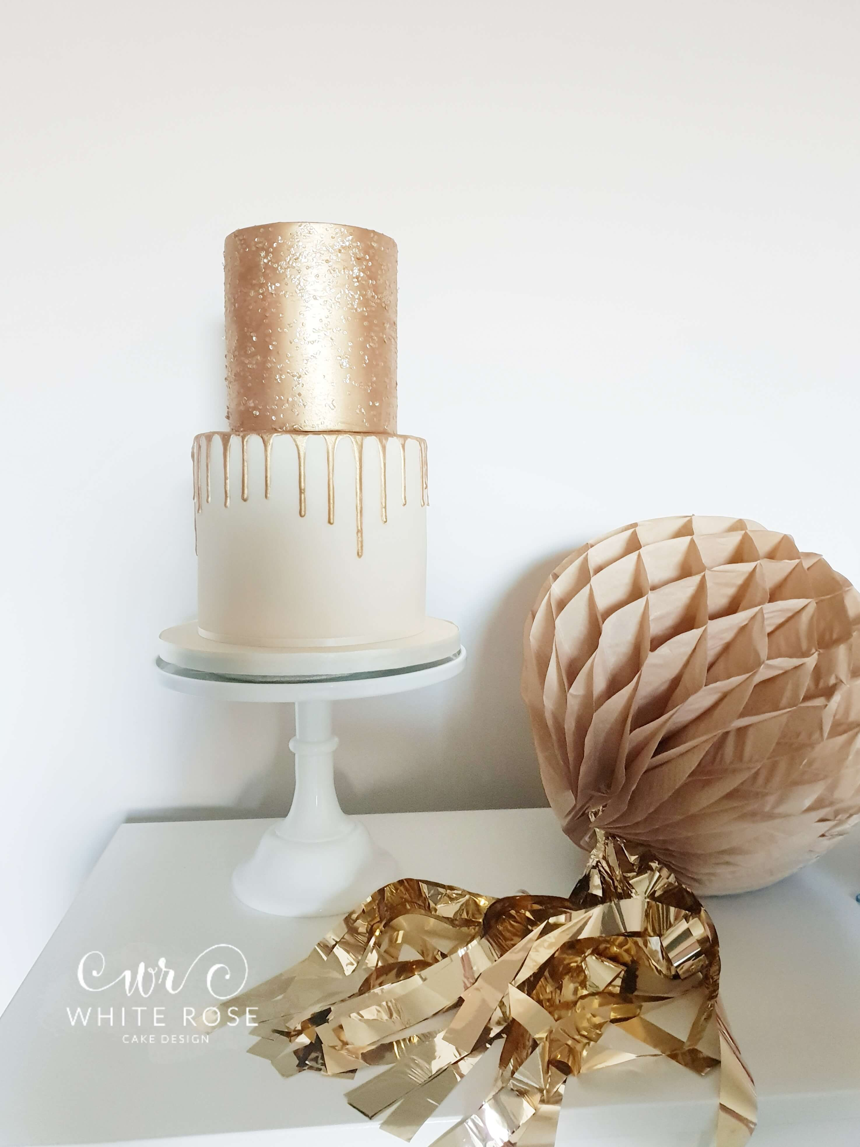 Gold Sequins Modern Drippy Birthday Cake by White Rose Cake Design in West Yorkshire
