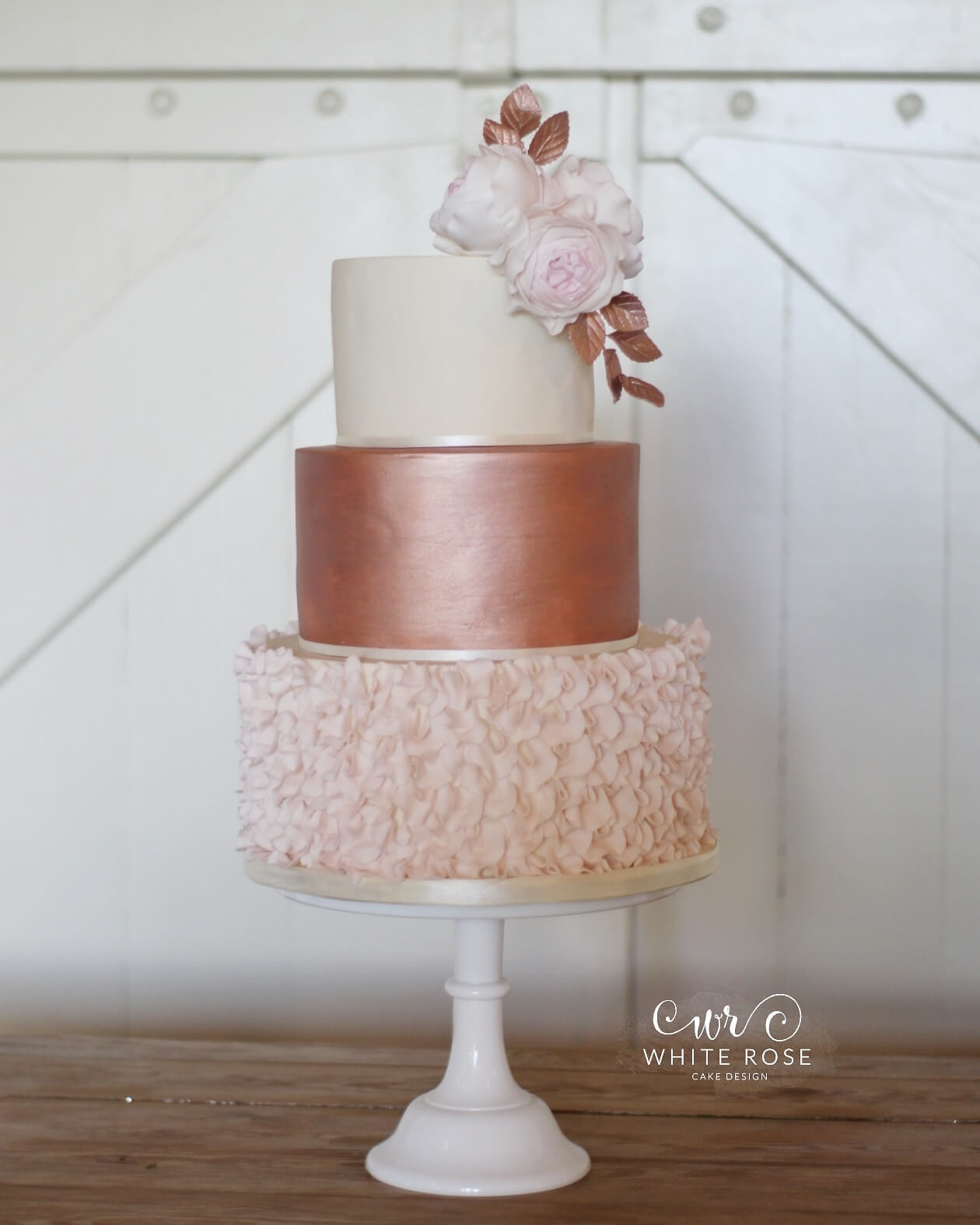 Rose Gold and Ruffles Wedding Cake with Blush Roses by White Rose Cake Design Luxury Wedding Cake Maker West Yorkshire