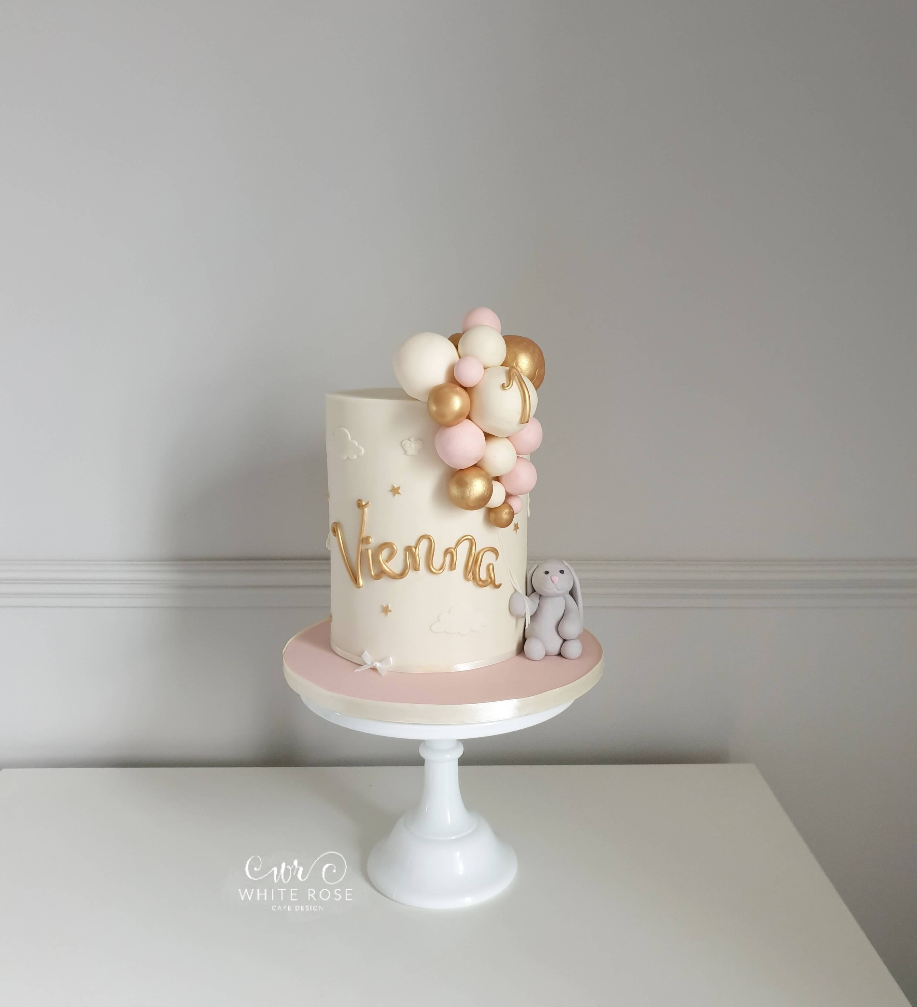 PInk and Gold Jellycat Bunny 1st Birthday Cake by White Rose Cake Design Cake Maker in Holmfirth