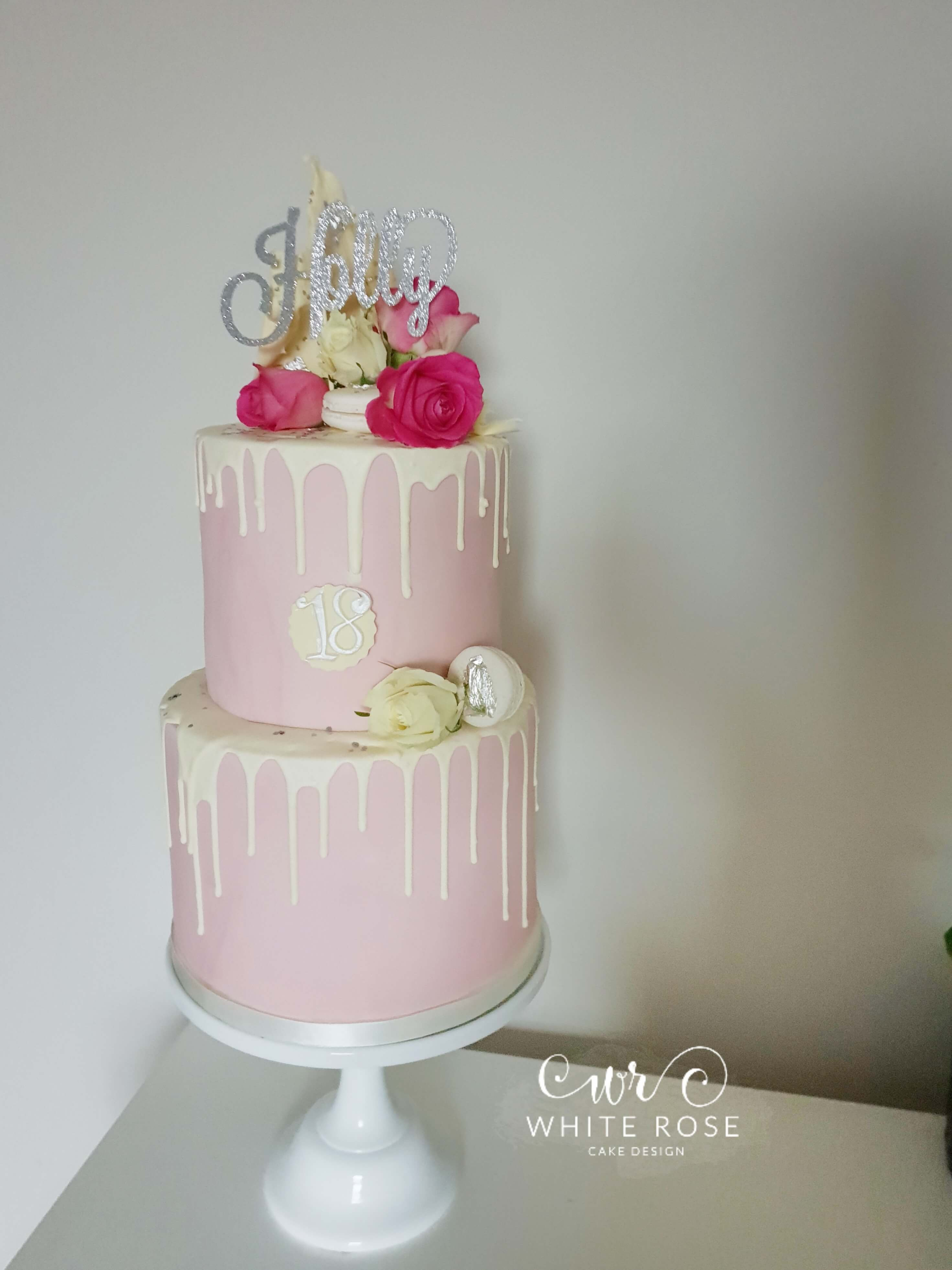 Pink and Silver Modern Drippy 18th Birthday Cake by White Rose Cake Design in West Yorkshire